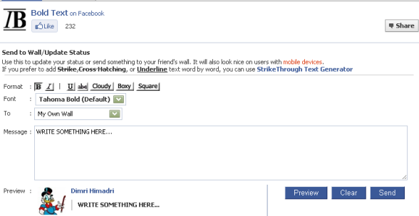 how to send bold text in facebook